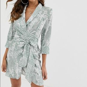 ASOS DESIGN mini tux dress- Snake Print